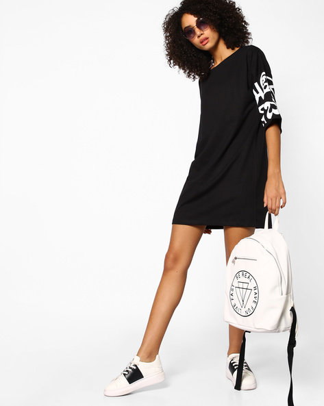 Shift Dress With Placement Print By AJIO ( Black )