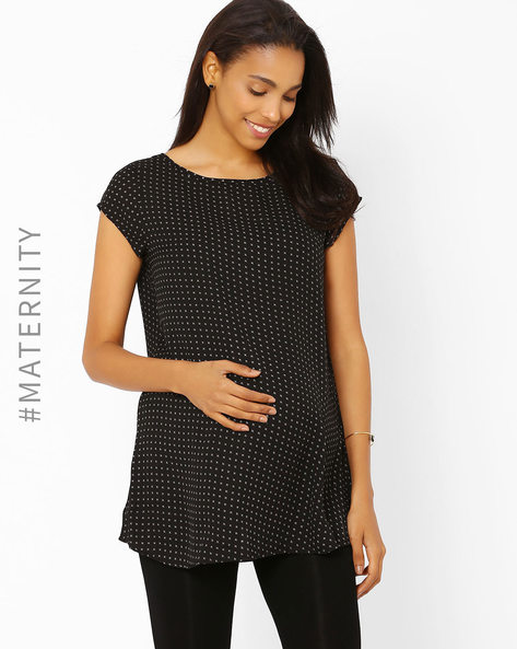 Printed Maternity Top By AJIO ( Black )