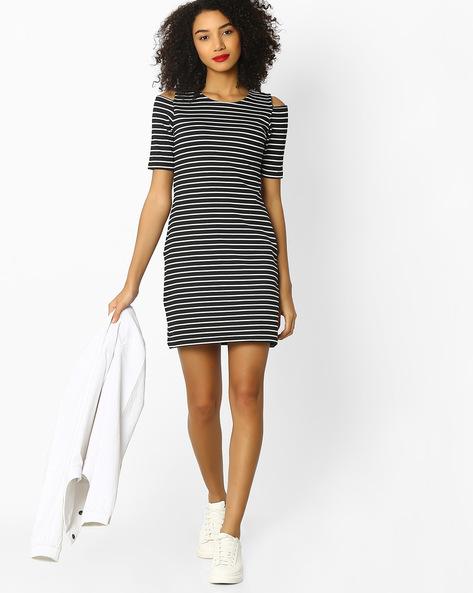 Striped Bodycon Dress By RIO ( Black )