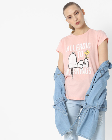 Snoopy Print Crew-Neck T-shirt By Free Authority ( Pink )