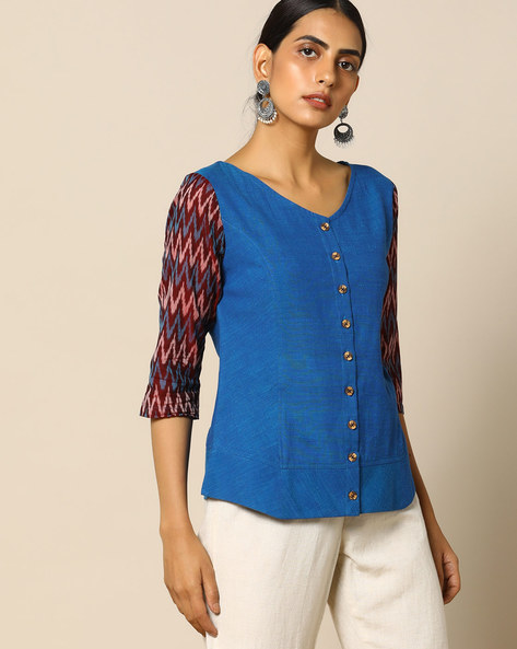 Handloom Cotton Top With Ikat Sleeves By Pilgrim ( Multi )