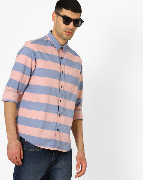 Striped Slim Fit Weft Shirt By BASICS ( Orange )