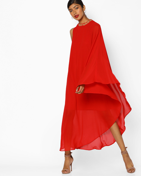 Cape Dress With Embroidered Neckline By AJIO ( Red )
