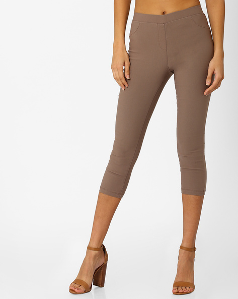 Skinny Fit Capris By Honey By Pantaloons ( Khaki )