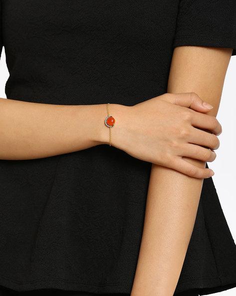 Gold-plated Cubic Zircon Studded Moonstone Bracelet By DWS ( Orange )