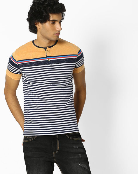 Striped Henley Cotton T-shirt By Fort Collins ( Multicolour ) - 460077131001