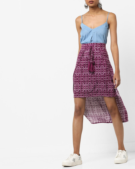 Printed High-Low Mini Skirt By AJIO ( Magenta )