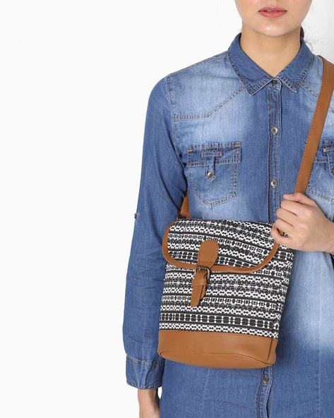 Printed Canvas Sling Bag By Kanvas Katha ( Black ) - 460139217001