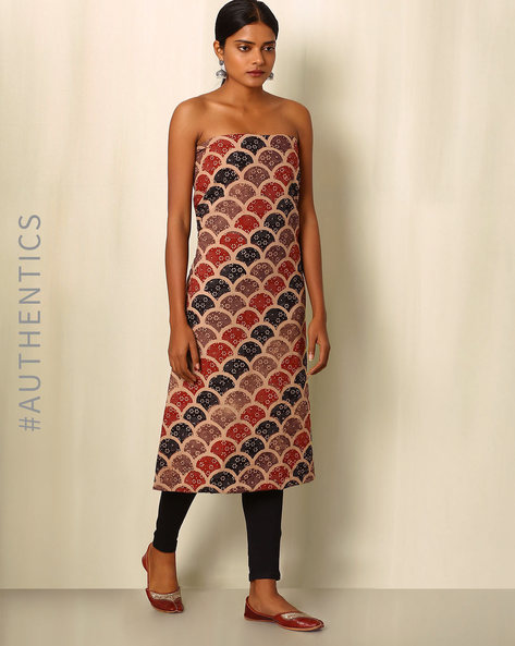 Ajrak Handblock Print Cotton Kurta Fabric By Indie Picks ( Multi )