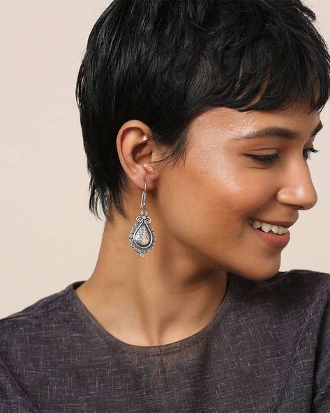 Oxidised Brass Earrings By Indie Picks ( Silver ) - 460164027001