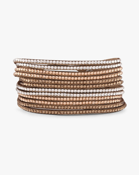 Faux-Leather Studded Bracelet By Ayesha ( Brown )