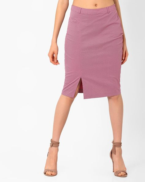 Ditsy Print Pencil Skirt By AJIO ( Pink )