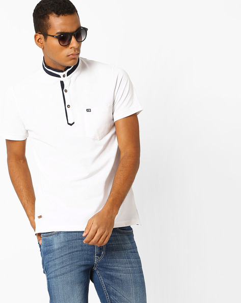 Collar T-shirt With Stand Collar By Fort Collins ( White )