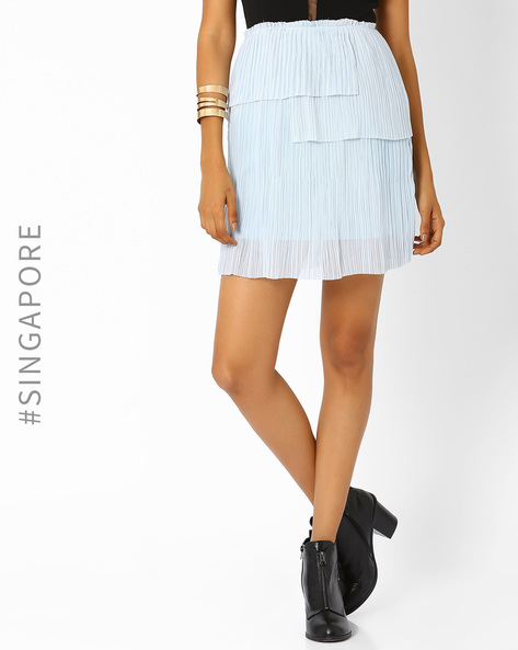 Pleated Mini Skirt By MDS ( Blue )