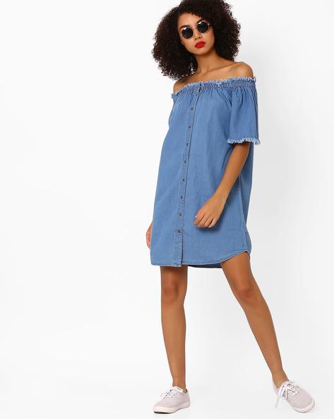 Denim Off-Shoulder Shirt Dress By AJIO ( Lightblue )