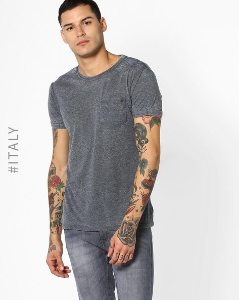 Crew-Neck T-shirt With Patch Pocket By ALCOTT ( Black )