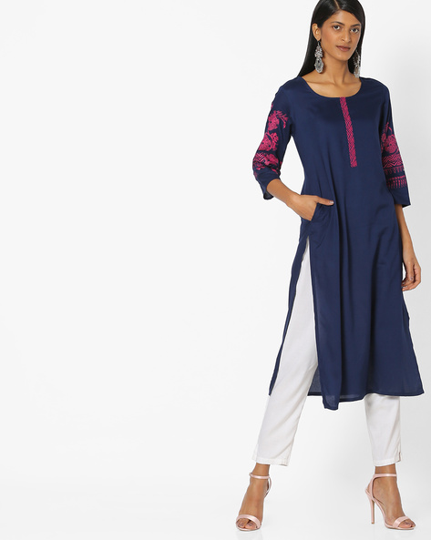 Cotton Kurta With Embroidered Sleeves By AVAASA MIX N' MATCH ( Navy )