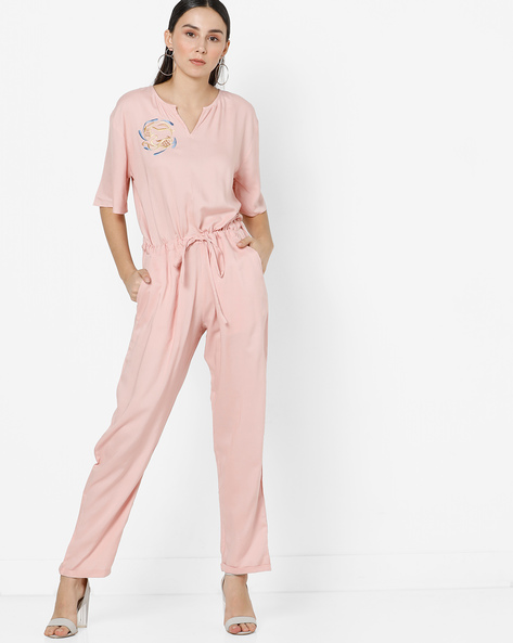 Embroidered Jumpsuit With Front Tie-Up By AJIO ( Pink )
