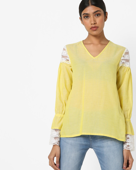 Top With Lace Detail By AJIO ( Yellow )