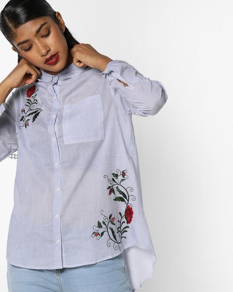 Striped Shirt With Embroidery By INFLUENCE ( Blue )