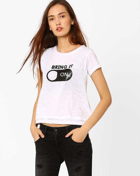 Graphic Print Layered T-shirt By Chemistee ( White )