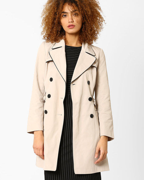 Trench Coat With Notched Lapel By FIG ( Beige )