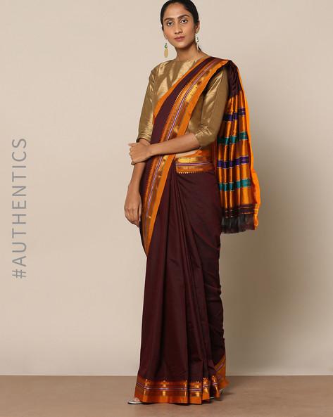 Cotton Silk Ilkal Saree With Zari Border By Indie Picks ( Brown )