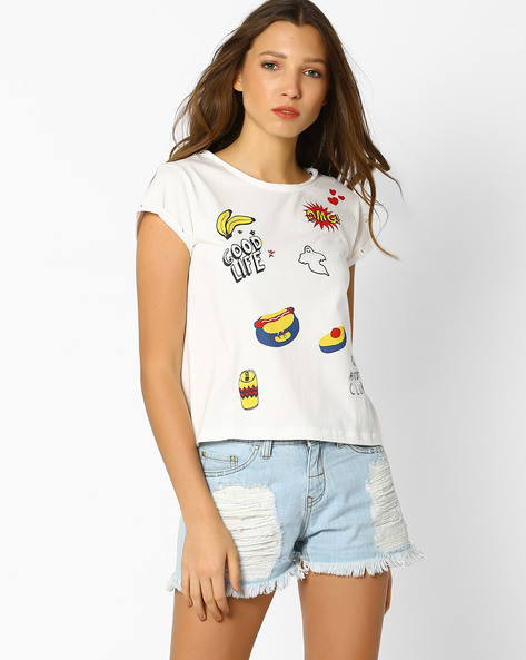 Knitted Graphic Print T-shirt By RIO ( White )