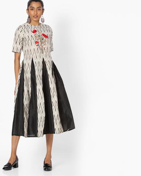 Chevron Print Midi Dress With Floral Embroidery By Jaipur Kurti ( White )