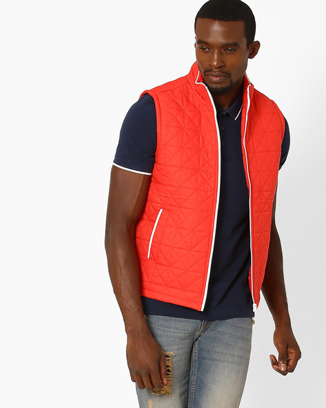 Quilted Regular Fit Gilet By AJIO ( Red )