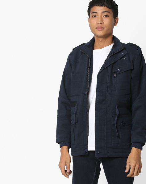 Jacket With Front Zipper By Fort Collins ( Navy )