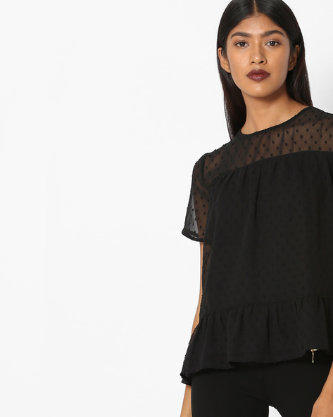 Peplum Top With Sheer Yoke By Only ( Black )