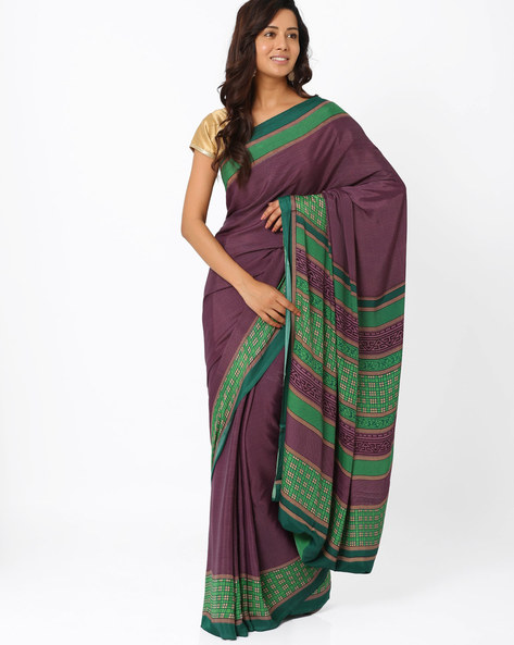 Printed Art Crepe Saree By Majestic Silk ( Lavender )