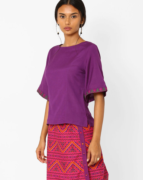Boxy Top With Kimono Sleeves By AJIO ( Purple )