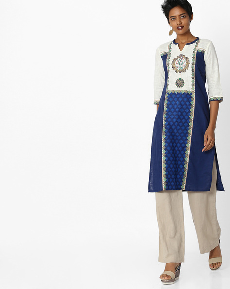 Printed Straight Kurta By AURELIA ( Blue ) - 440803342004