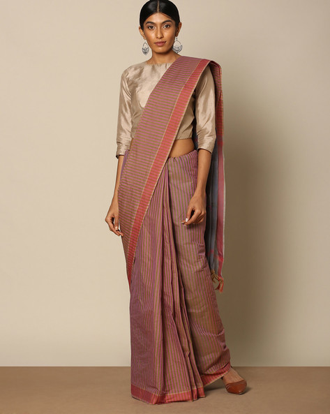 Striped Cotton Saree With Buti At Pallu By Indie Picks ( Orange )