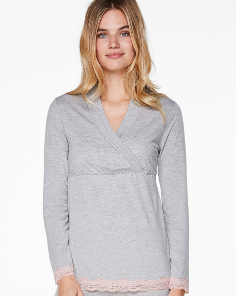 Surplice-Neck Top With Lace Trims By Hunkemoller ( Grey )