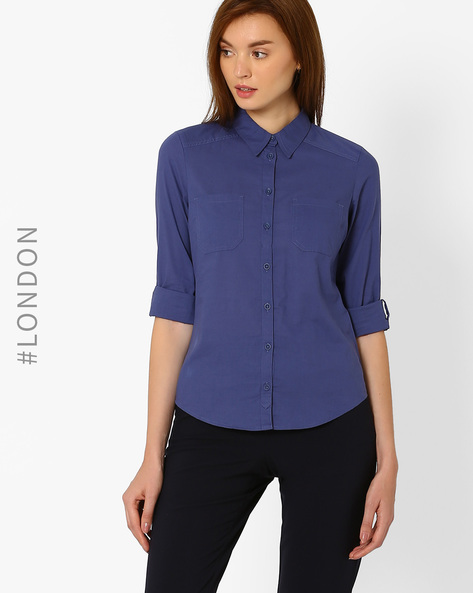 Lightweight Cotton Shirt By Marks & Spencer ( Navyblue )