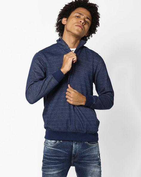Striped High-Neck Sweatshirt By JOHN PLAYERS ( Blue )
