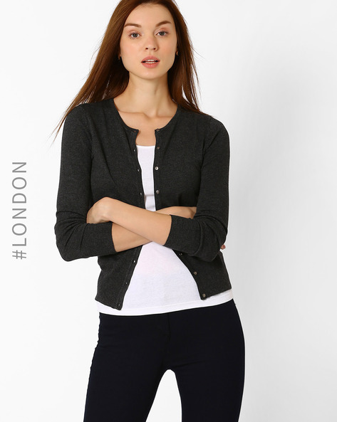 Buttoned-down Cardigan With Ribbed Hems By Marks & Spencer ( Charcoal )