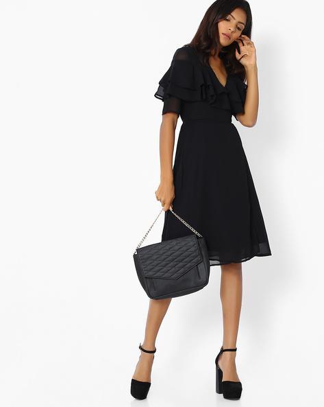 Wrap-Around Dress With Ruffles By Femella ( Black )