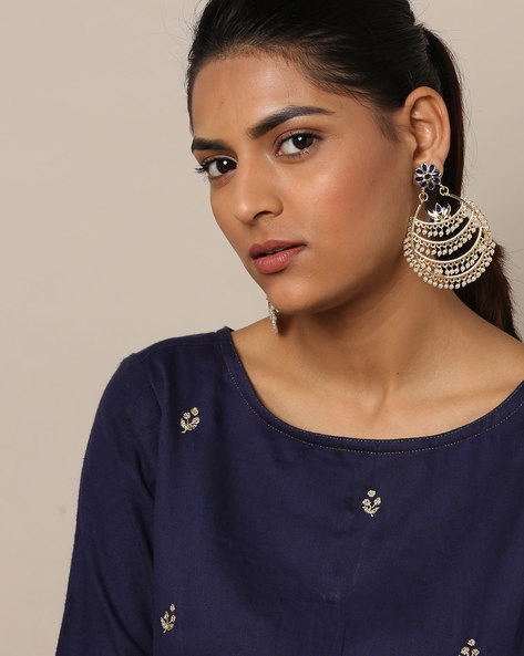 Floral Stone-Studded Pearl Drop Metal Alloy Earrings By Rubans ( Multi )