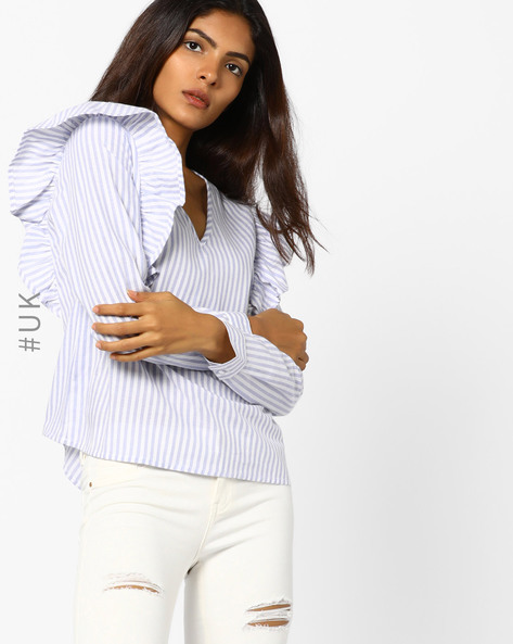 Striped Top With Ruffles By INFLUENCE ( Blue )