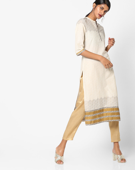 All-Over Print Cotton Kurta By AURELIA ( Cream )