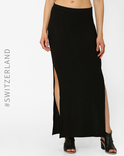 Maxi Skirt With Side Slits By TALLY WEiJL ( Black )