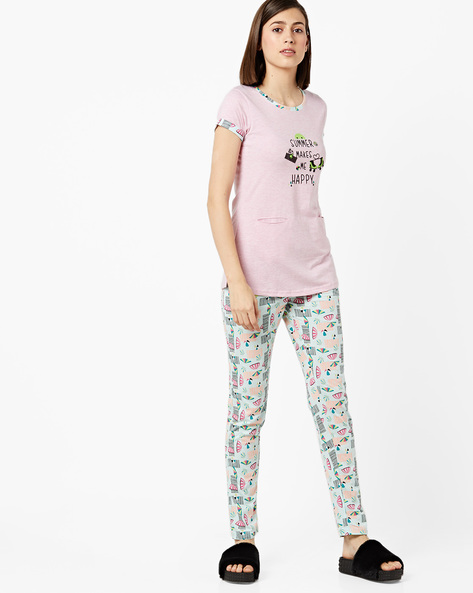 T-shirt With Printed Pyjama Set By Sweet Dreams ( Pink )