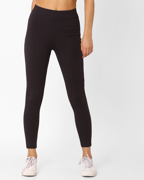 Panelled Leggings With Elasticated Waist By CODE By Lifestyle ( Grey )