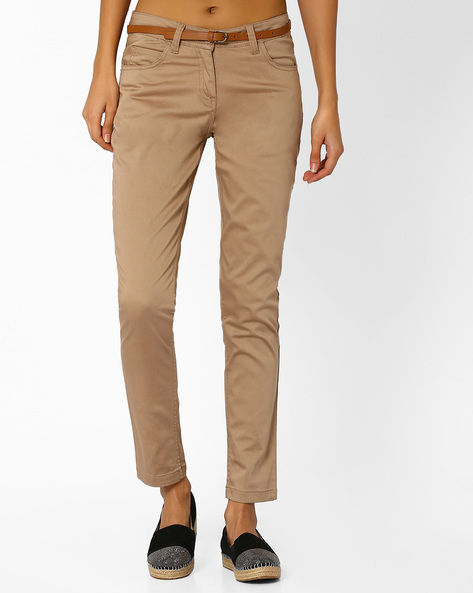Ankle-Length Trousers With Belt By Honey By Pantaloons ( Beigegold )
