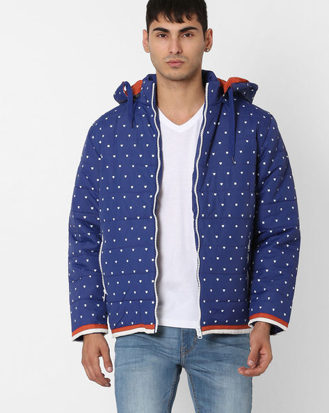 Printed Regular Fit Quilted Jacket By Fort Collins ( Royalblue )