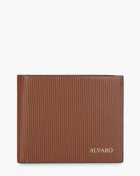 Genuine Leather Striped Bi-Fold Wallet By ALVARO CASTAGNINO ( Brown )